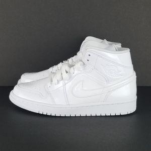 "Air Jordan 1 Mid Patent ""Tripple White"" Wmn Sz 8"